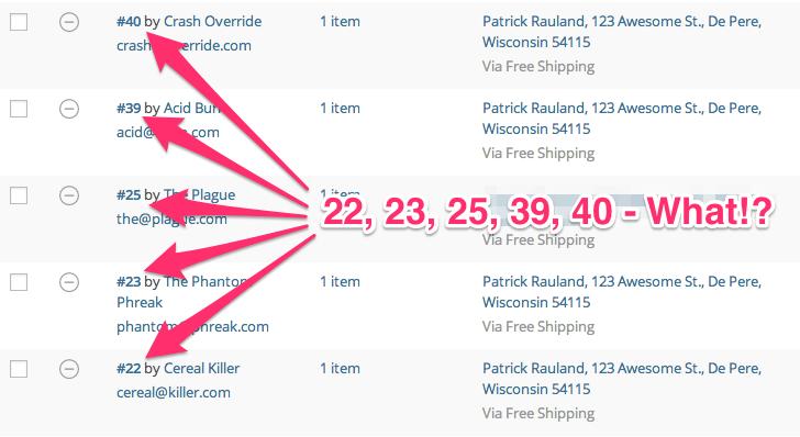 Waarom zijn de WooCommerce bestelling nummers / ID's niet opeenvolgend?