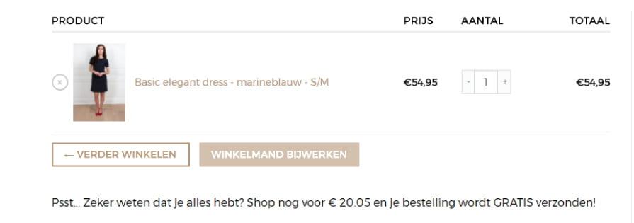 Melding Toevoegen WooCommerce voor Gratis Verzending na minimaal bestelbedrag